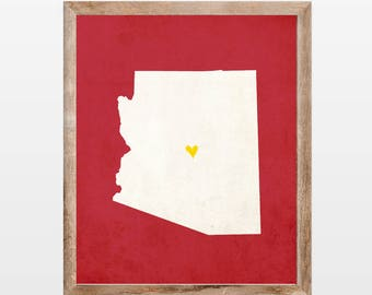 Arizona Silhouette Personalized Map Art 8x10 Print. Map Silhouette Art. Personalized Arizona Map Art. Pick Your Colors and Heart Placement.