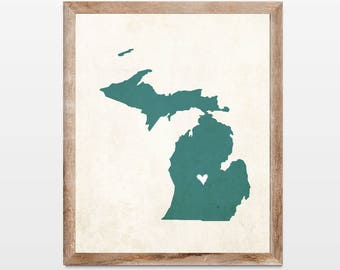 Michigan Rustic State Map. Personalized Michigan Map Art Print 8x10. Personalized Michigan State School Map. College Graduation Map.