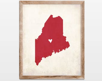 Maine Rustic State Map. Personalized Maine Map Art Print 8x10. Maine Vacation Map Art Gift. Honeymoon Map Gift. Anniversary Map Gift.