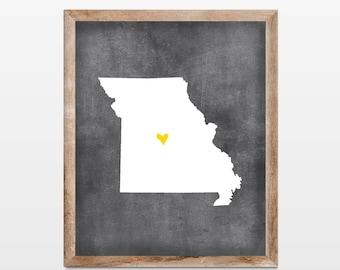 Missouri Chalkboard State Map 8x10 Art Print. Personalized Chalkboard Home Art Print. Missouri Map Art. Housewarming Map Art Print Gift.