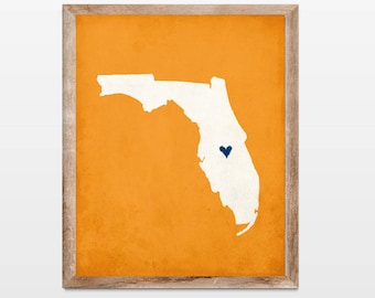 Florida Silhouette Personalized Map Art 8x10 Print. Map Silhouette Art. Florida State Map Art Gift. Pick Your Colors and Heart Placement.