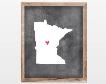 Minnesota Chalkboard State Map 8x10 Art Print. Personalized Chalkboard Home Art Print. Minnesota Map Gift. Housewarming Map Art Gift.