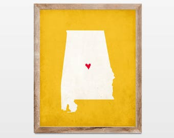 Alabama Silhouette Personalized Map Art 8x10 Print. Map Silhouette Art. Personalized College State Map. Pick Your Colors and Heart Placement