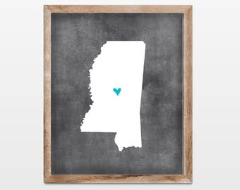 Mississippi Chalkboard State Map 8x10 Art Print. Personalized Chalkboard Home Art Print. Mississippi College Map. Graduation Gift School Map