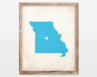 Missouri Rustic State Map. Personalized Missouri Map Art Print 8x10. Housewarming Map Art. New Home Art Gift. Missouri Housewarming Gift.