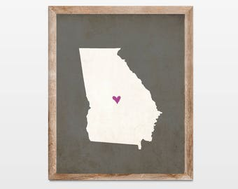 Georgia Silhouette Personalized Map Art 8x10 Print. Map Silhouette Art. Georgia State Map Art Gift. Pick Your Colors and Heart Placement.