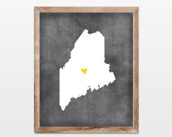 Maine Chalkboard State Map 8x10 Art Print. Personalized Chalkboard Home Art Print. Maine Map. Honeymoon Map Art Gift. Map Art.