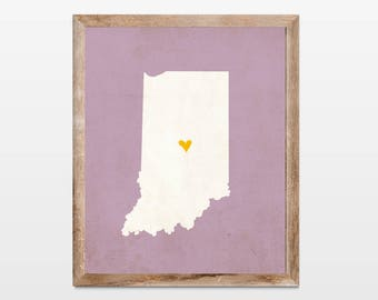 Indiana Silhouette Personalized Map Art 8x10 Print. Map Silhouette Art. Indiana State Map Art Gift. Pick Your Colors and Heart Placement.