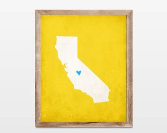 California Silhouette Personalized Map Art 8x10 Print. Map Silhouette Art. Custom Map Art. Personalized Wall Art Map. State Heart Map Art.