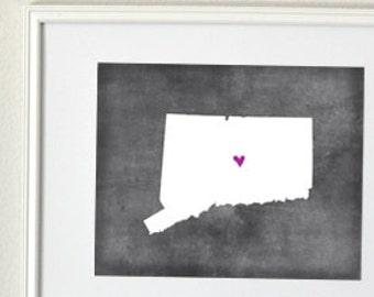 Connecticut Chalkboard State Map Customizable Art Print