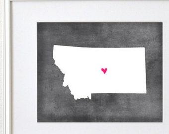 Montana Chalkboard State Map Customizable Art Print