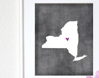New York Chalkboard State Map Customizable Art 8x10 Print