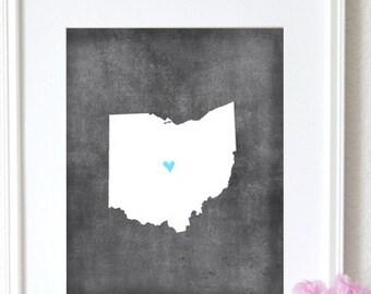 Ohio Chalkboard State Map Customizable Art Print.