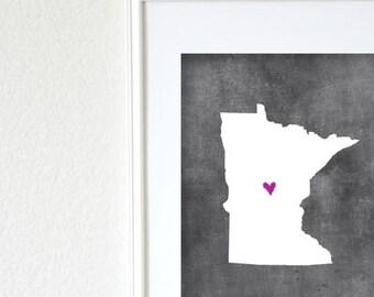 Minnesota Chalkboard State Map Customizable Art Print