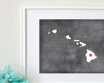 Hawaii Chalkboard State Map Customizable Art Print. Hawaii Map Art.