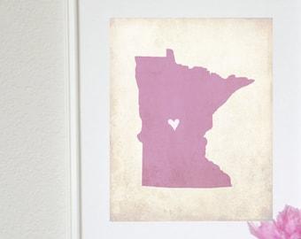 Minnesota Rustic State Map. Personalized Minnesota Map. Minnesota Wedding Map. Wedding Gift. Anniversary Gift. Art Print 8x10.