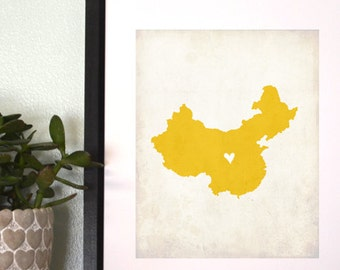 China Personalized Country Map Art 8x10 Print