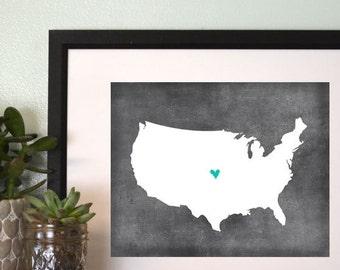 United States Chalkboard Map Personalized Art Print.