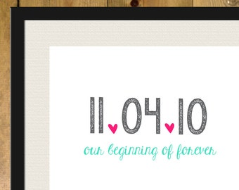 Personalized Date with Hearts 8x10 Art Print- Wedding Date, Engagement, Couples Date