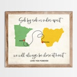 Side by Side or Miles Apart Long Distance Map Print. Personalized Long Distance Love Map. Mom Dad Gift. Personalized Long Distance Gift.