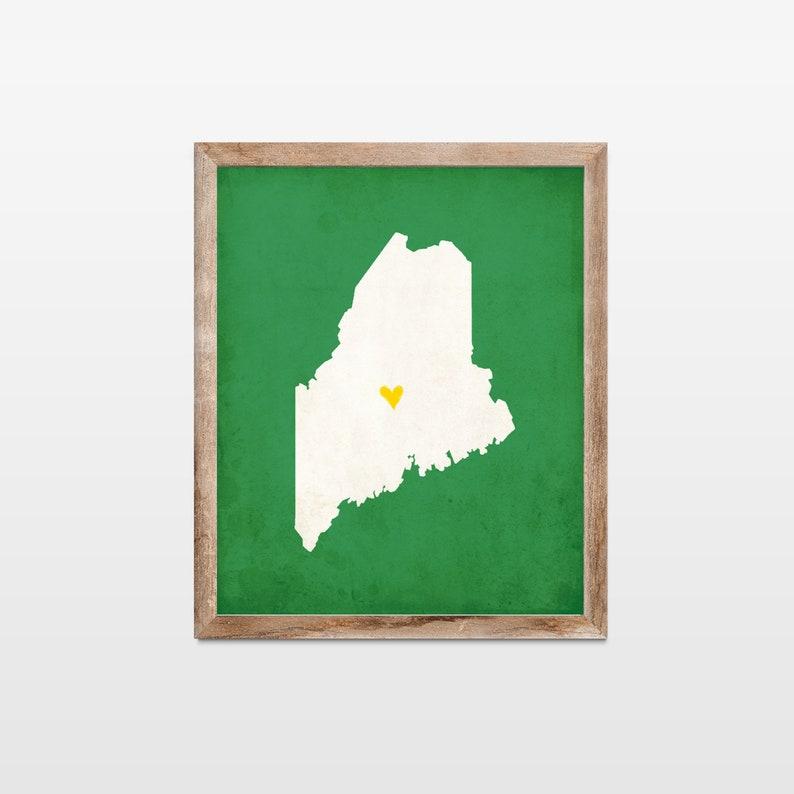 Maine Silhouette Personalized Map Art Print. Custom Map Art. image 0
