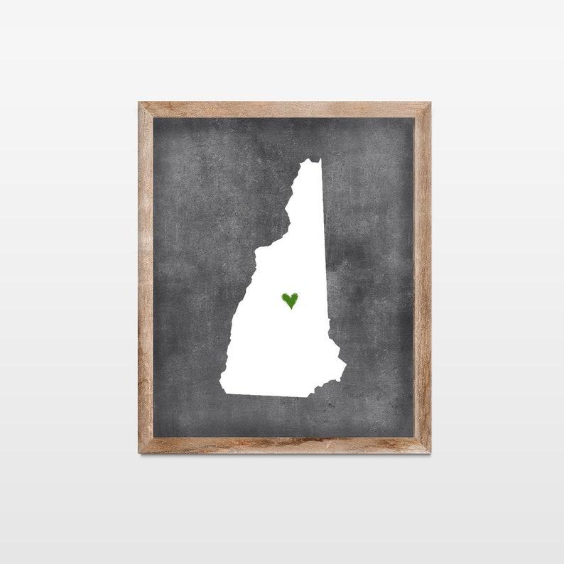 New Hampshire Chalkboard State Map Art Print. Personalized image 0