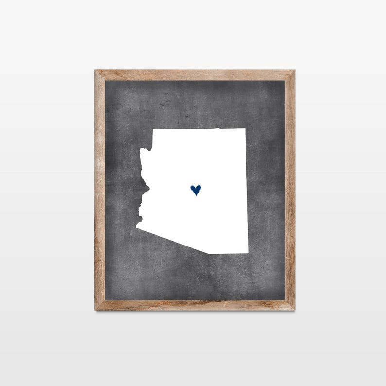 Arizona Chalkboard State Map Art Print. Personalized image 0