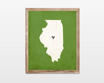 Illinois Silhouette Personalized Map Art 8x10 Print. Map Silhouette Art. Illinois State Map Art Gift. Pick Your Colors and Heart Placement.