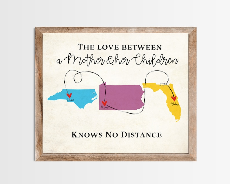 Mother and Children Long Distance Map Print. Personalized Long image 0