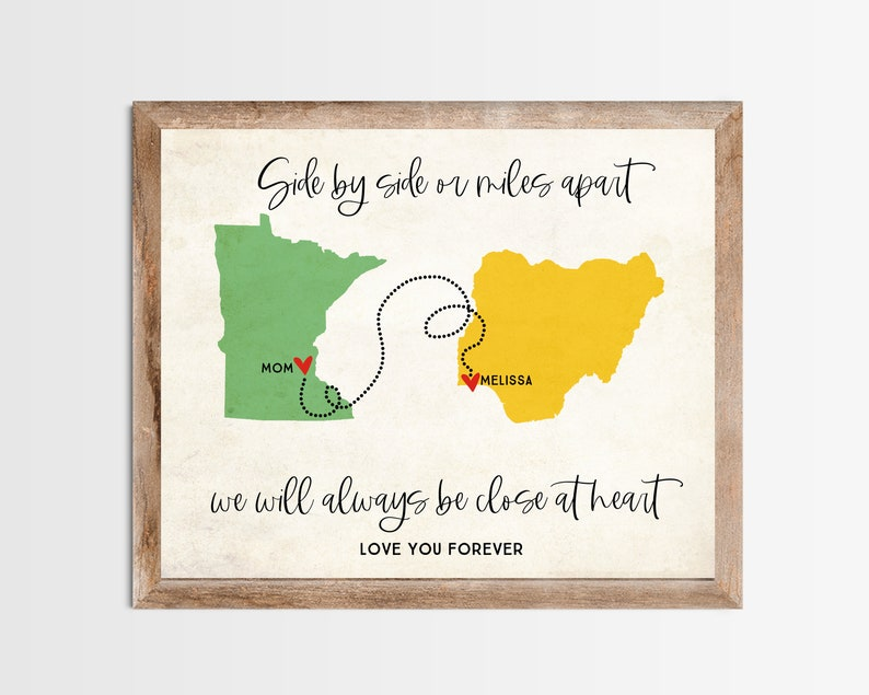 Side by Side or Miles Apart Long Distance Map Print. image 0