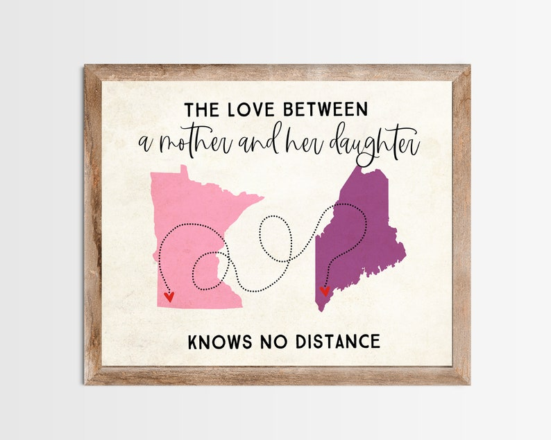 Mother and Daughter Long Distance Map Print. Personalized Long image 0