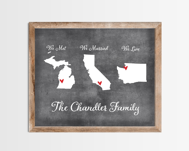 Chalkboard Met Married Live Personalized Map Any State or image 0