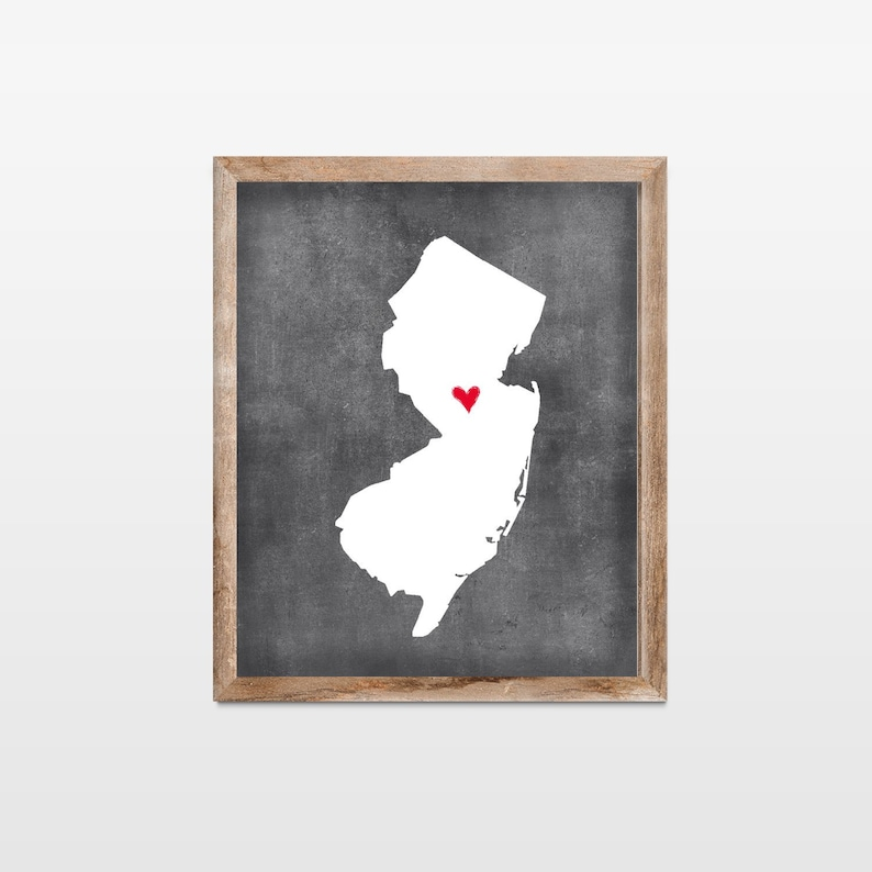 New Jersey Chalkboard State Map Art Print. Personalized image 0