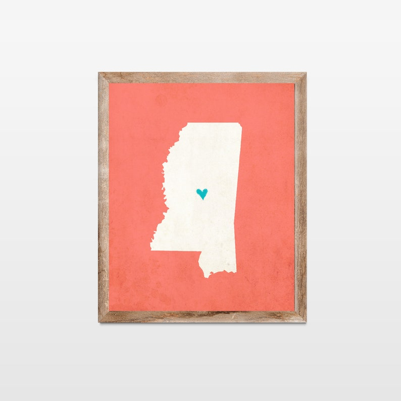 Mississippi Silhouette Personalized Map Art Print. Map image 0