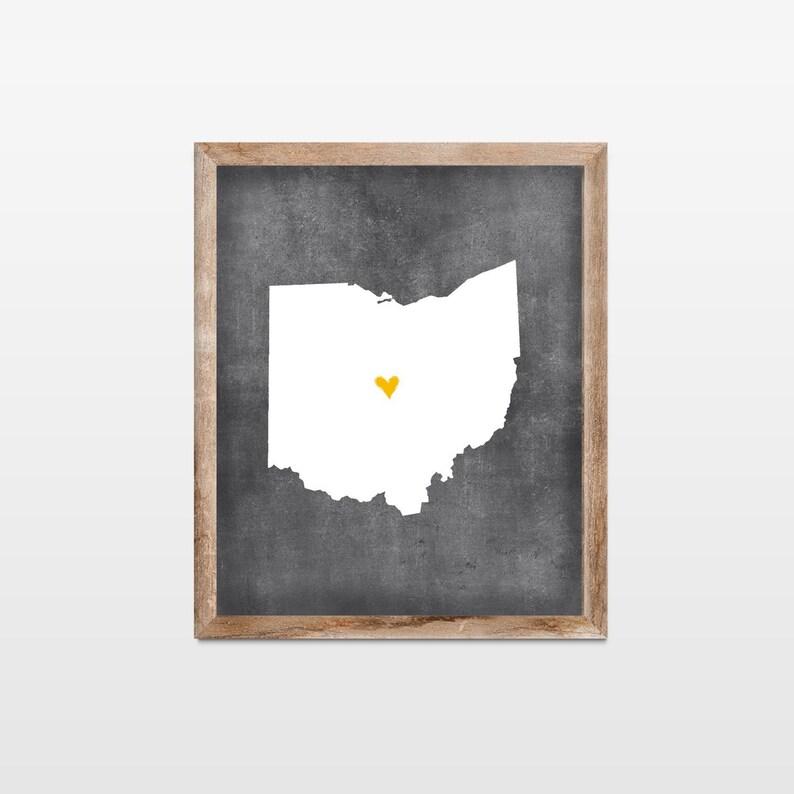 Ohio Chalkboard State Map Art Print. Personalized Chalkboard image 0