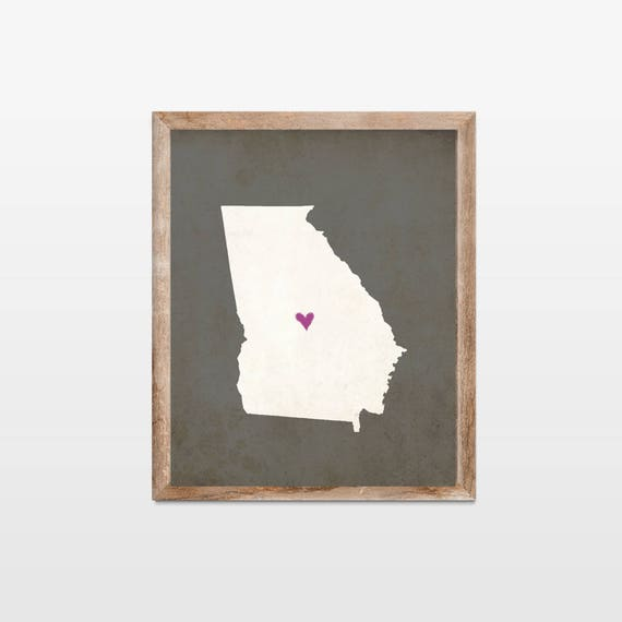 Georgia Silhouette Personalized Map Art 8x10 Print  Map Silhouette Art   Georgia State Map Art Gift  Pick Your Colors and Heart Placement