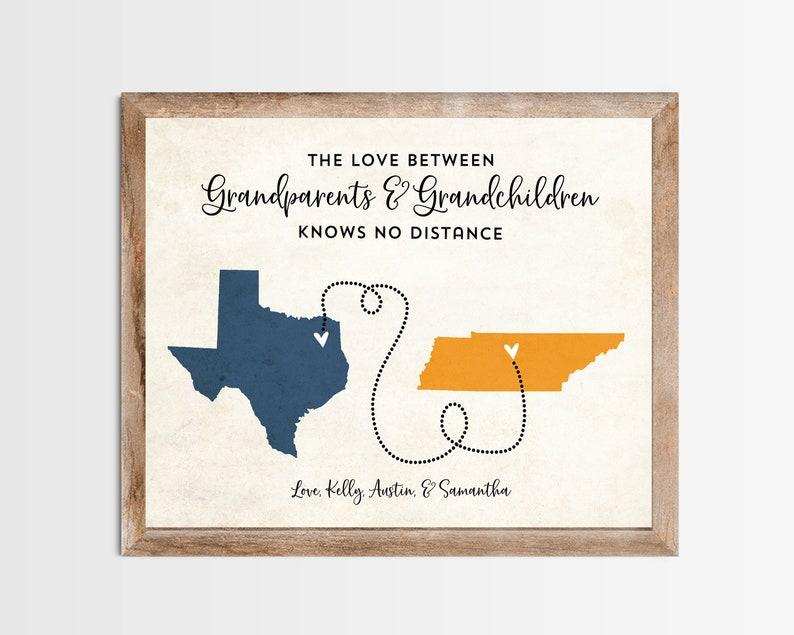 Grandparent Grandchildren Long Distance Map Print. image 0