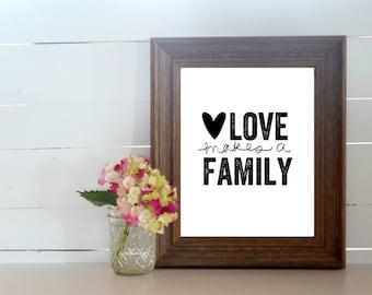 Printable Love Makes a Family 8x10 Art Print. Digital Download Family Art. New Family Gift. Blended Family Gift. Adoption Art Gift.