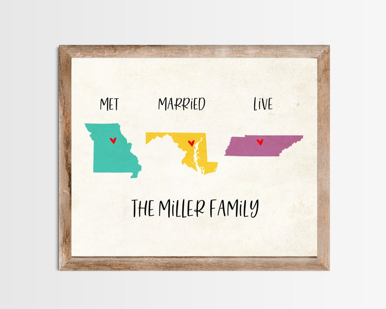 Met Married Live Personalized Map Any State or Country Custom image 0