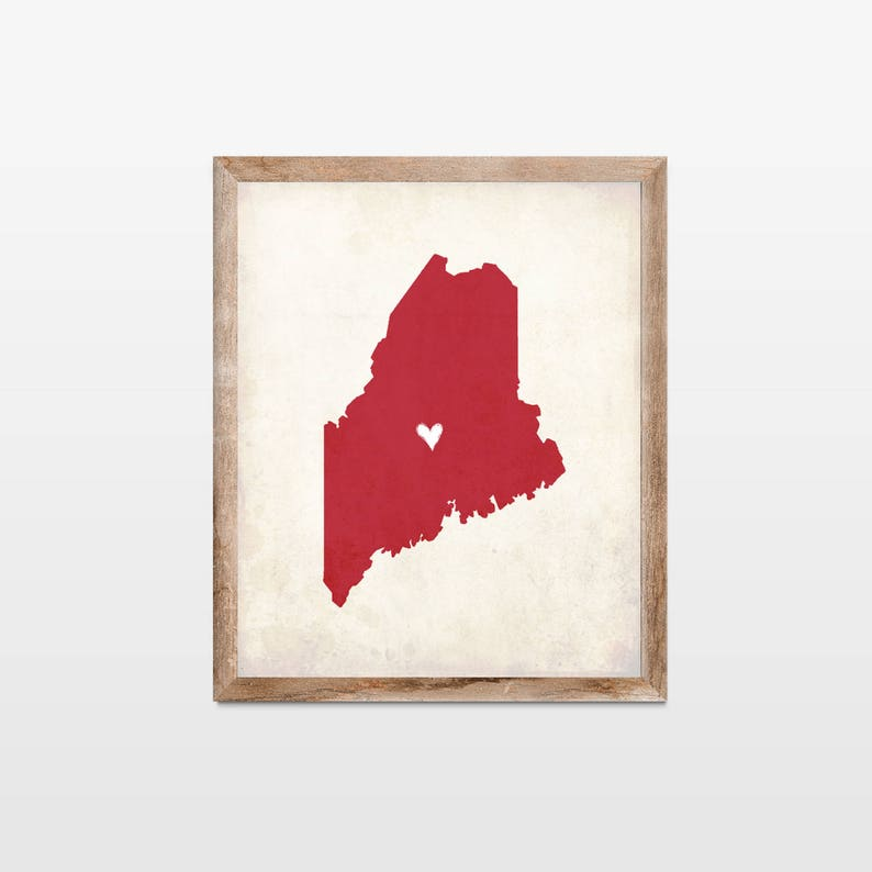 Maine Rustic State Map. Personalized Maine Map Art Print. image 0