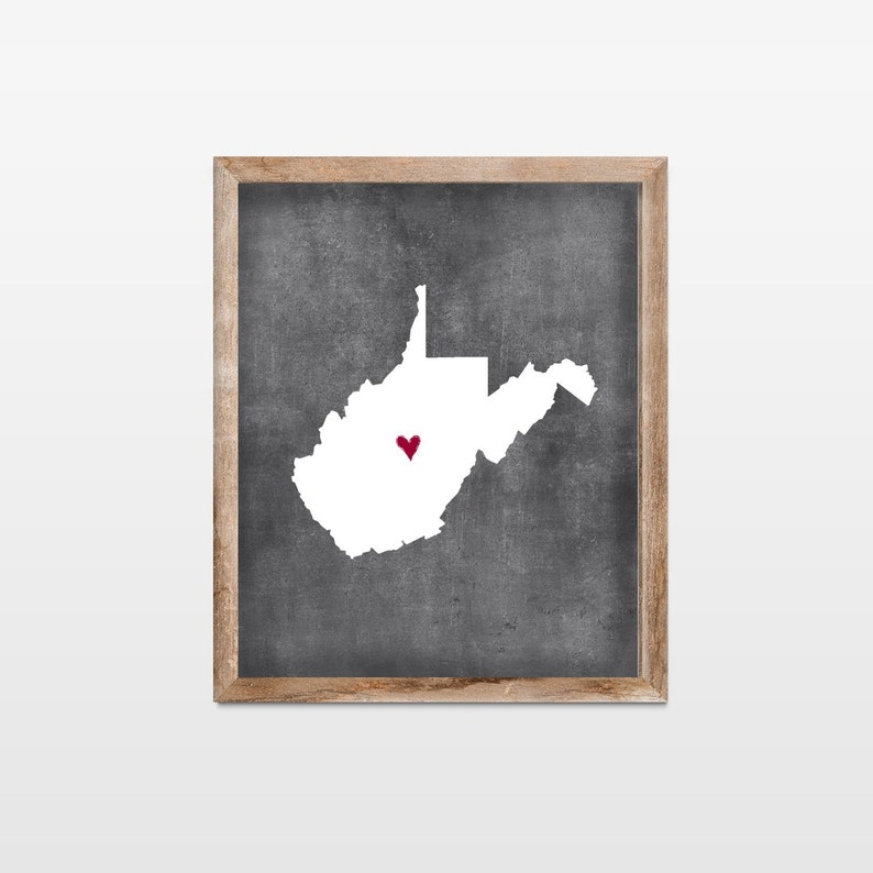 West Virginia Chalkboard State Map Art Print. Personalized image 0