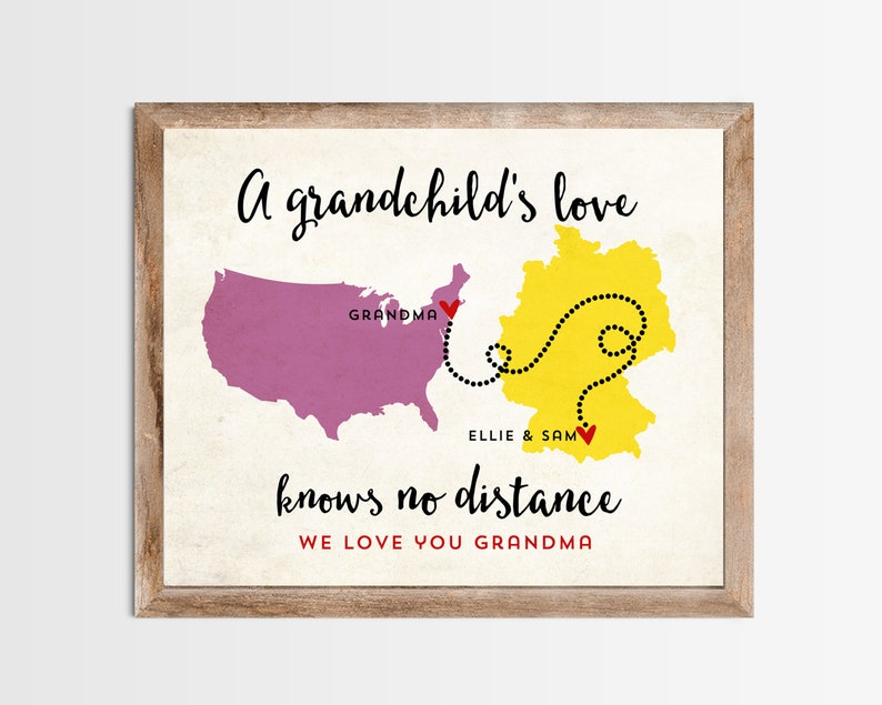 A Grandchild's Love Long Distance Map Print. Personalized image 0