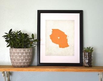 Tanzania Personalized Country Map Art 8x10 Print
