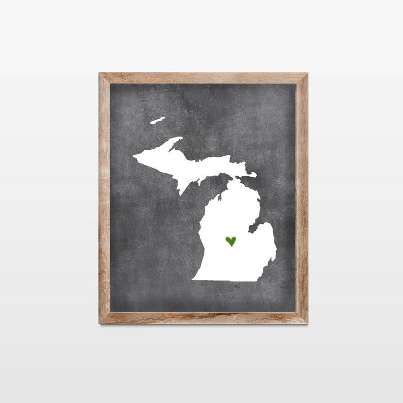Michigan Chalkboard State Map Art Print. Personalized image 0