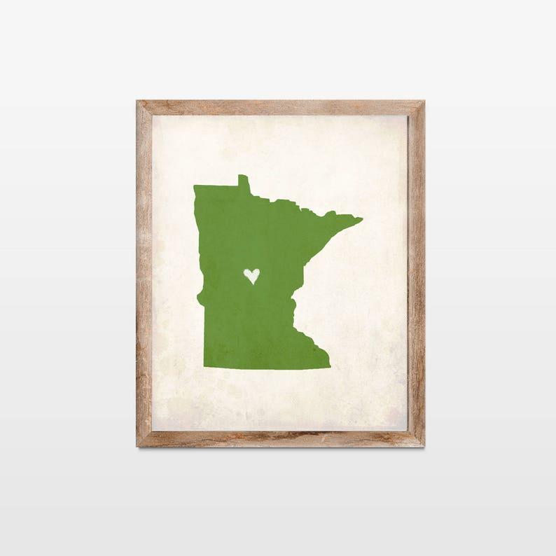 Minnesota Rustic State Map. Personalized Minnesota Map Art image 0