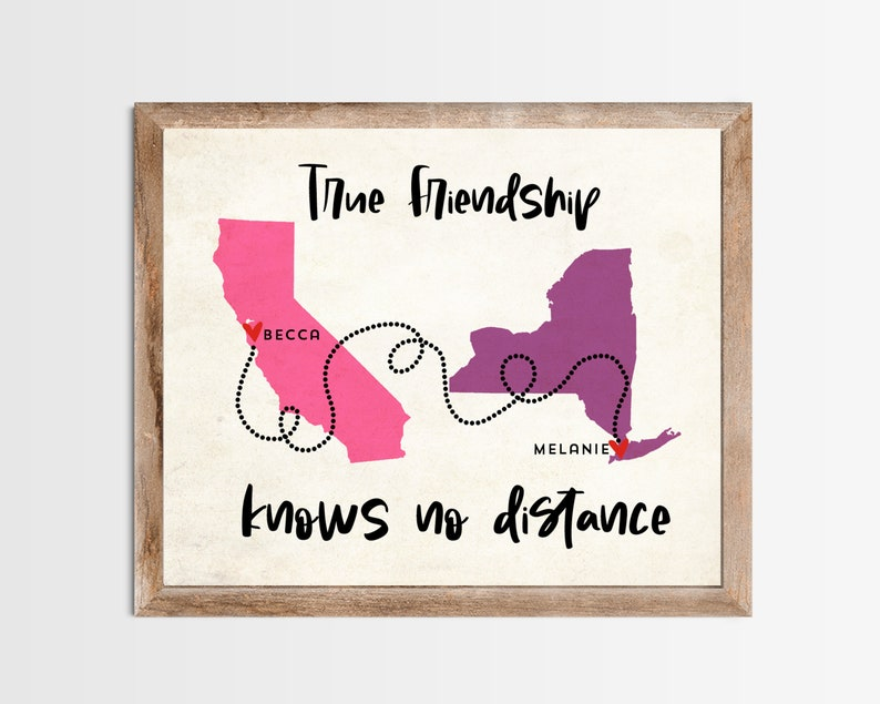 True Friends Know No Distance Long Distance Map Print. image 0