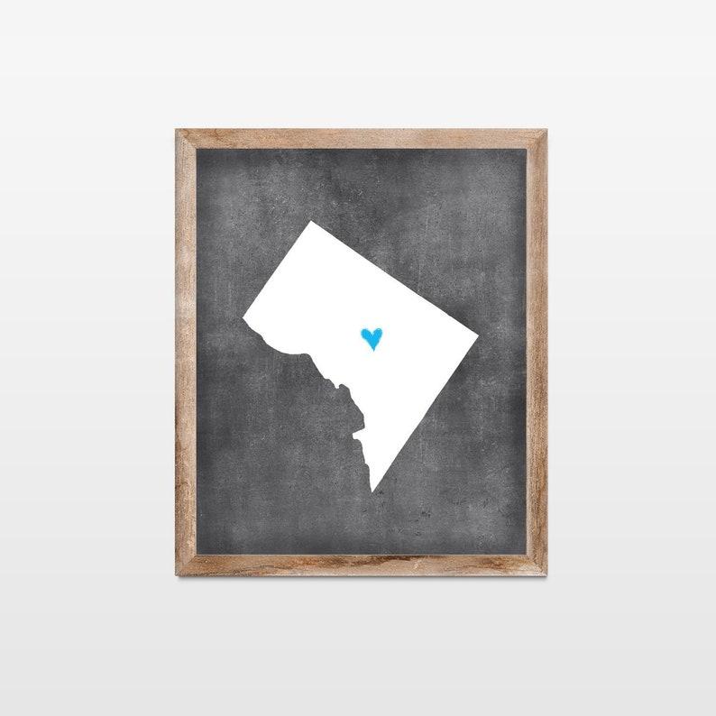 Washington DC Chalkboard State Map Art Print. Personalized image 0