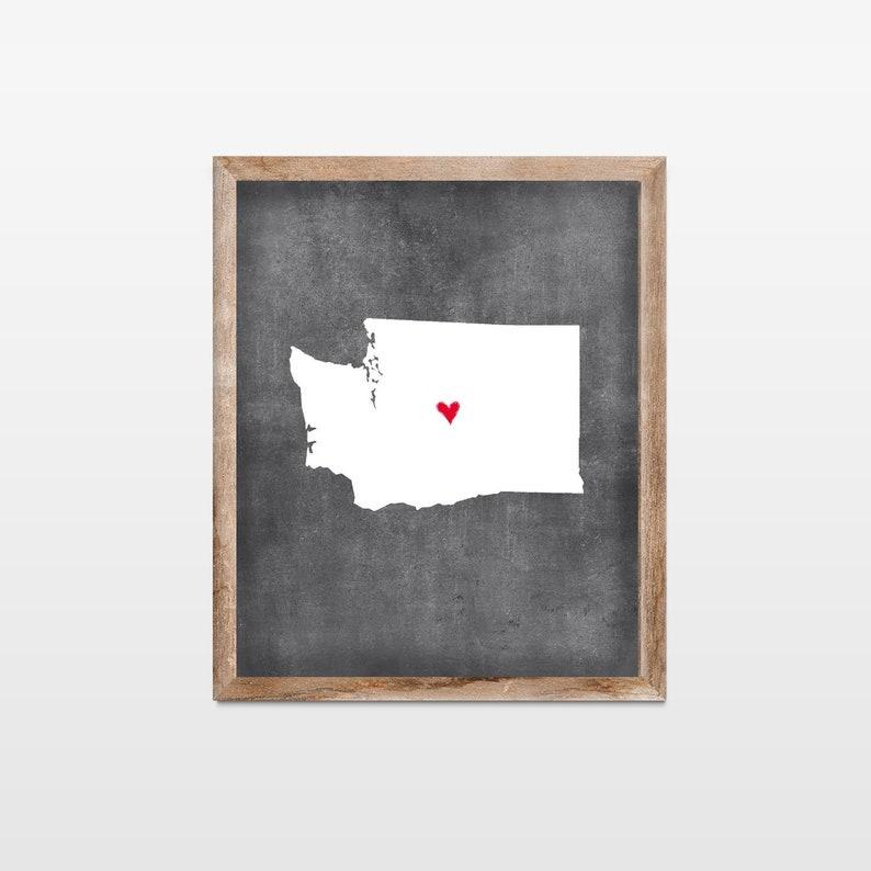 Washington Chalkboard State Map Art Print. Personalized image 0
