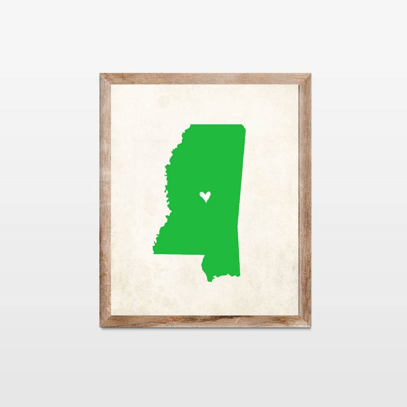 Mississippi Rustic State Map. Personalized Mississippi Map Art image 0