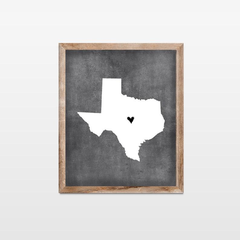 Texas Chalkboard State Map Art Print. Personalized Chalkboard image 0